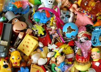 Colorful Toys like dolls in a big box