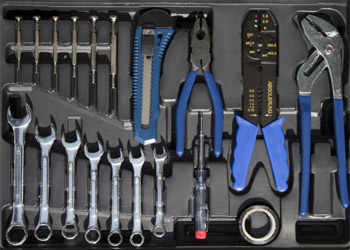 Open Tool Box with few tools and blue hold