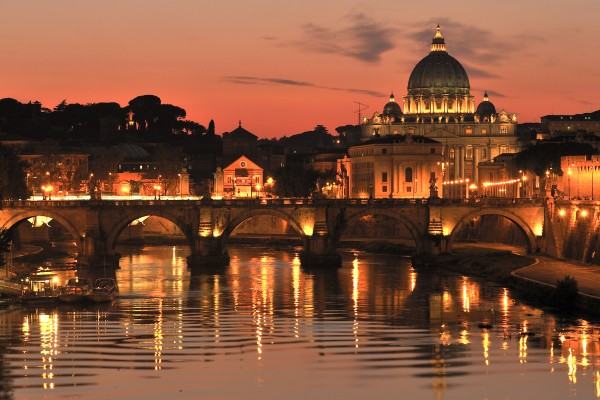 sunset on the tiber in rome