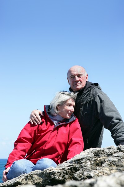 senior couple at sea