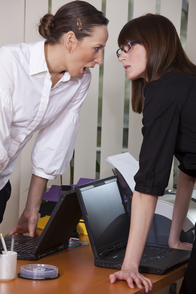 two businesswomen in conflict