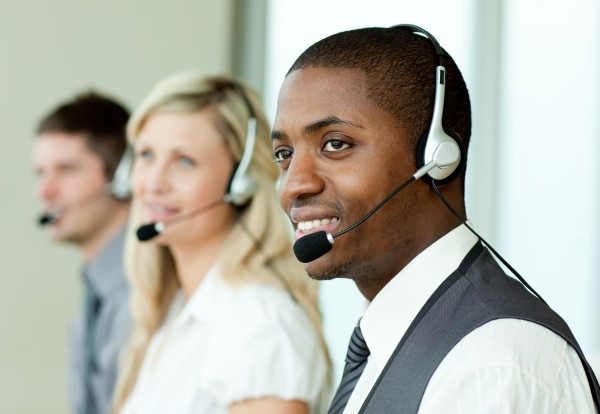 businesspeople with headsets