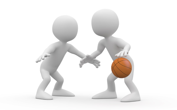 two basketball players confronted in a