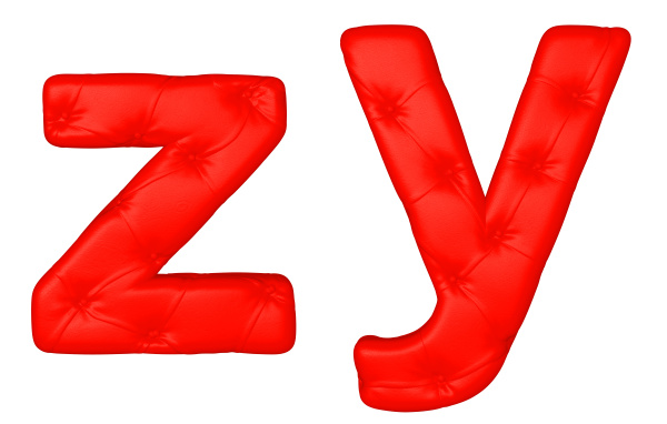 luxury red leather font y z
