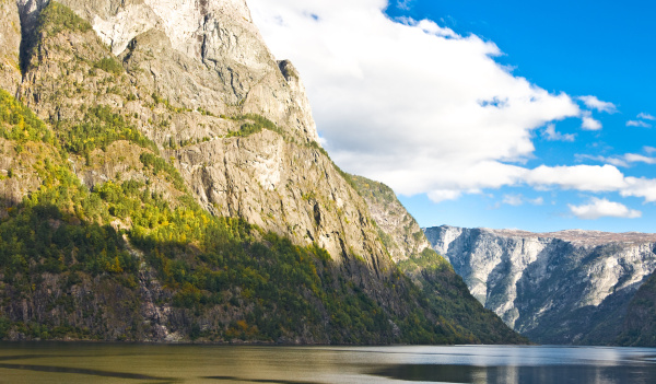 sognefjord in norway hills and sky