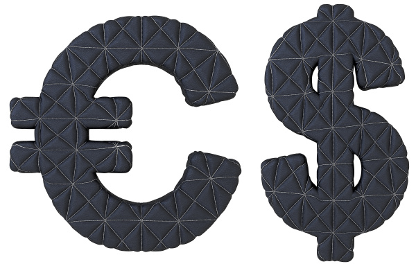 stitched leather font euro and dollar