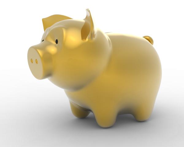 wealth golden piggy bank over white