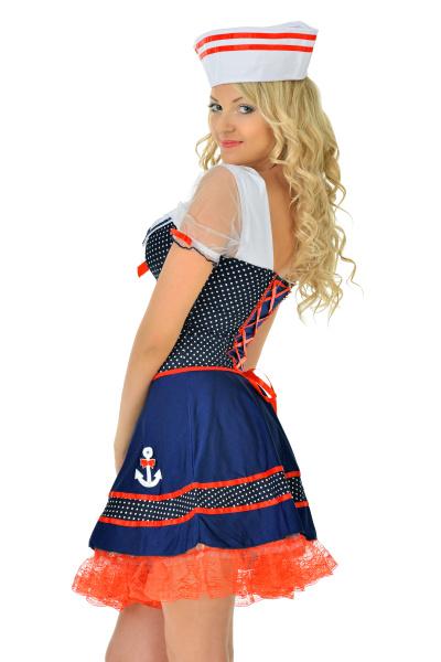 beautiful blonde woman in masquerade seaman