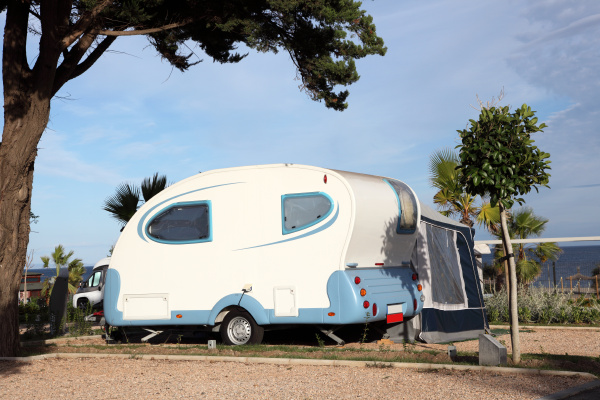 small caravan on a camping site
