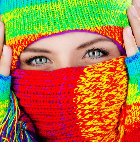 close up on covered face with