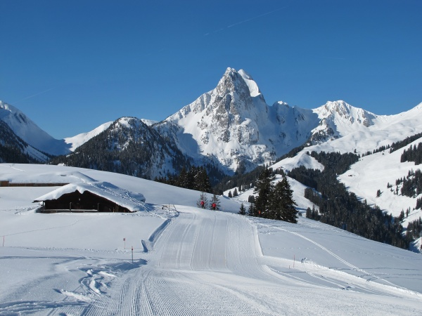 majestic mountain named rueeblihorn slope