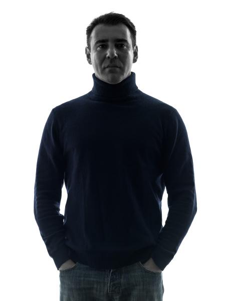 man mature serious silhouette portrait