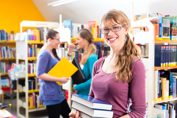students learn in a library