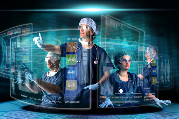 doctors with screens