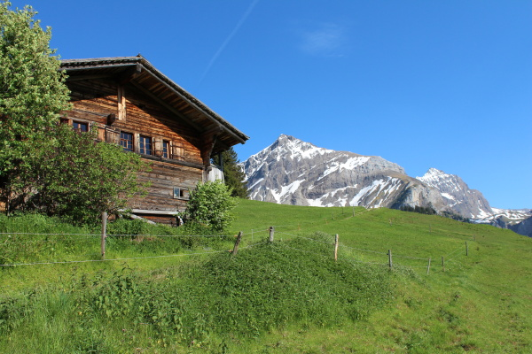 old house and mountain in the