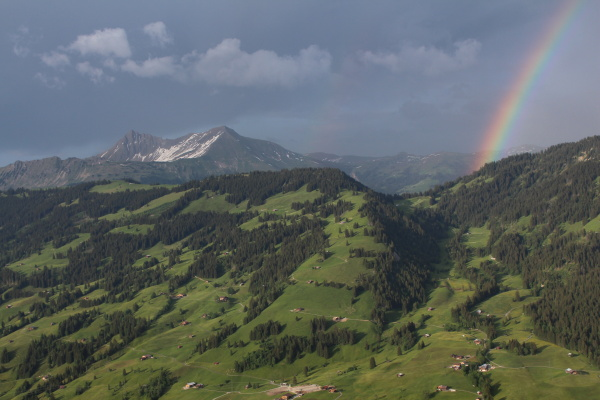green hill and rainbow scenery