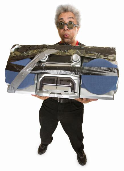 overwhelmed man with radio