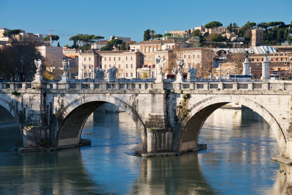 st angel bridge on tiber river