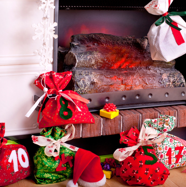 homemade christmas stockings by the fireplace