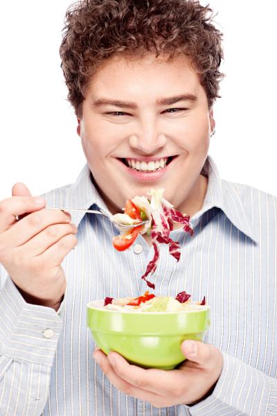chubby man and salad