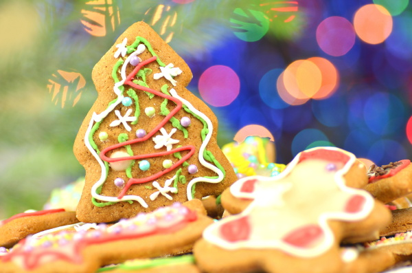 delicious decorated christmas cookies on bokeh