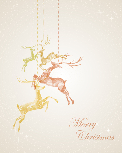 merry christmas abstract hanging reindeer greeting