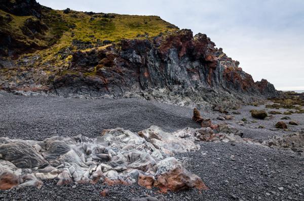 icelandic beach with black lava rocks