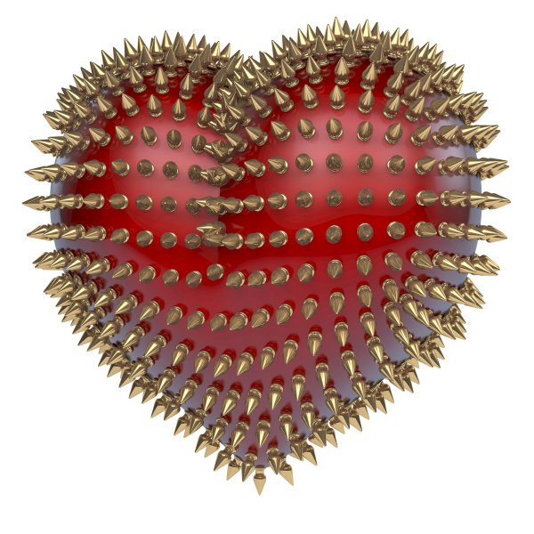 red glossy heart with golden