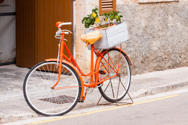 ladies bicycle in orange with flowers