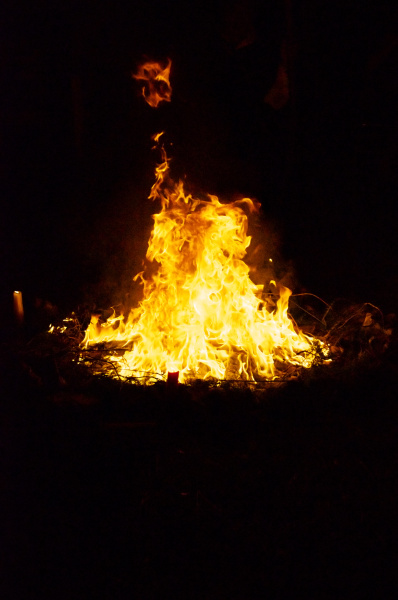ceremonial fire circle at night