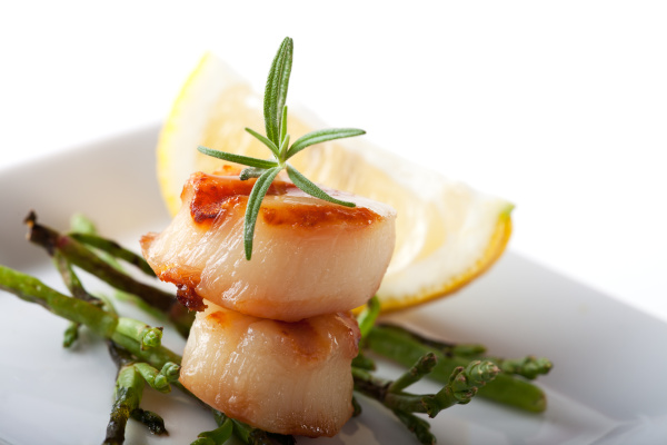 two grilled scallops