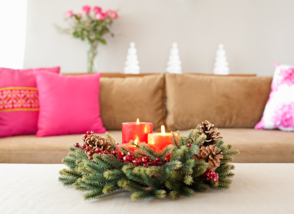 beige sofa with advent flower arangement