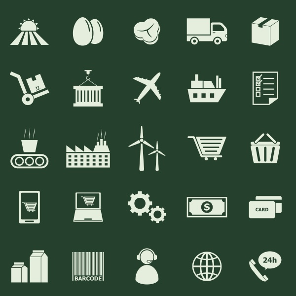 supply chain color icons on green