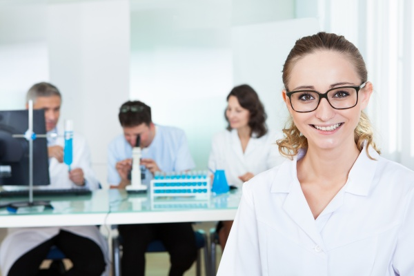 attractive female lab technician