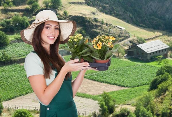 female gardener with flower