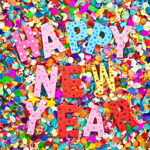 happy new year in colorful letters