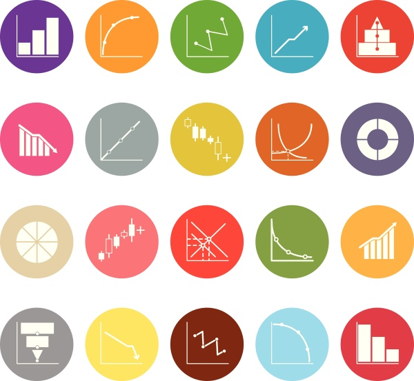 diagram and graph flat icons on