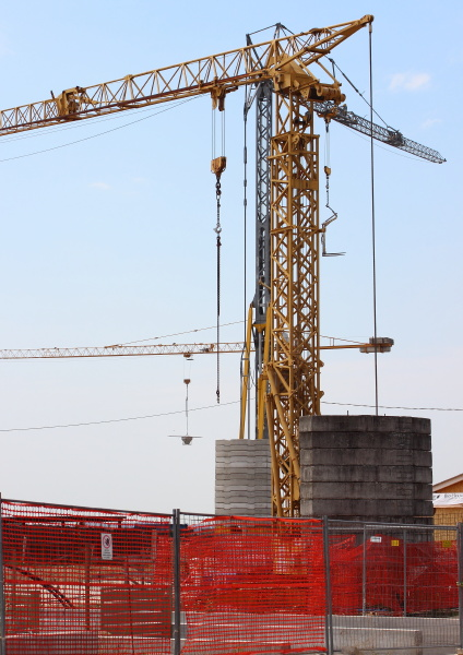 construction crane with heavy contrablocks and