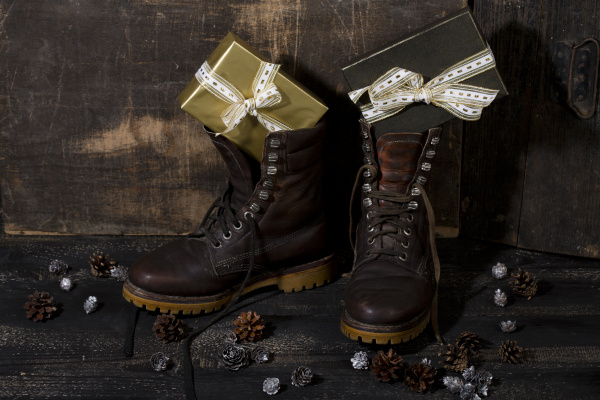 winter boots filled with gifts