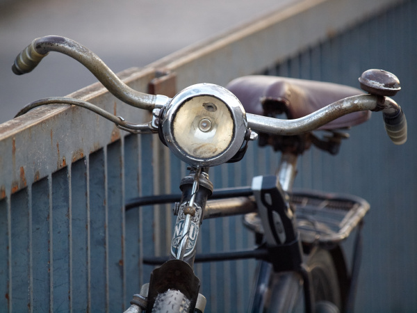 old bike with large headlight