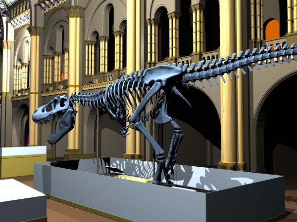 british natural history museum with dinosaur