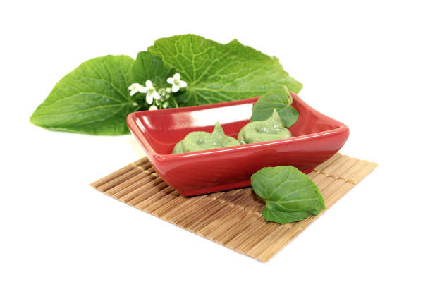 wasabi with leaf and flower in