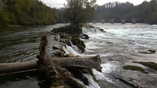 water at the rhine falls with