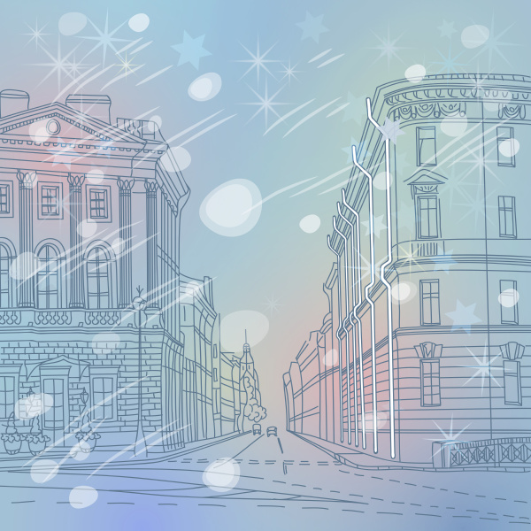 vector winter christmas cityscape the wide