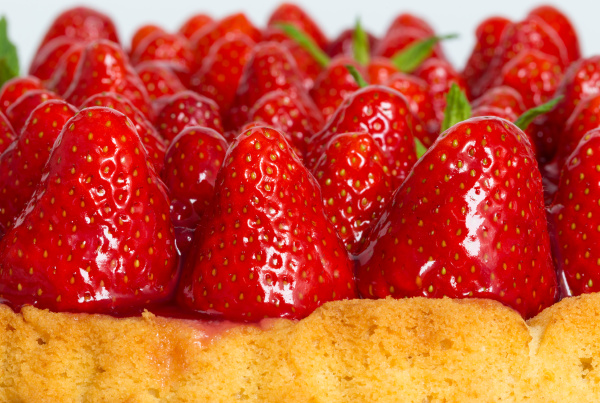 strawberry cake with mint macro closeup