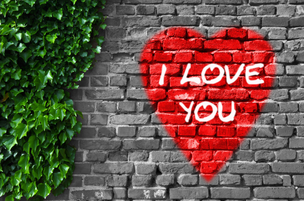 red heart on wall