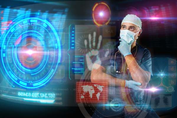 doctor with screens