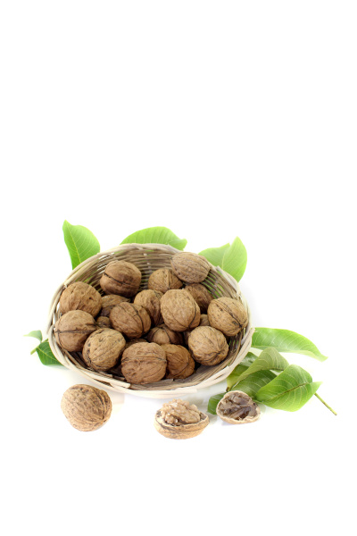 walnuts with walnut leaves in a