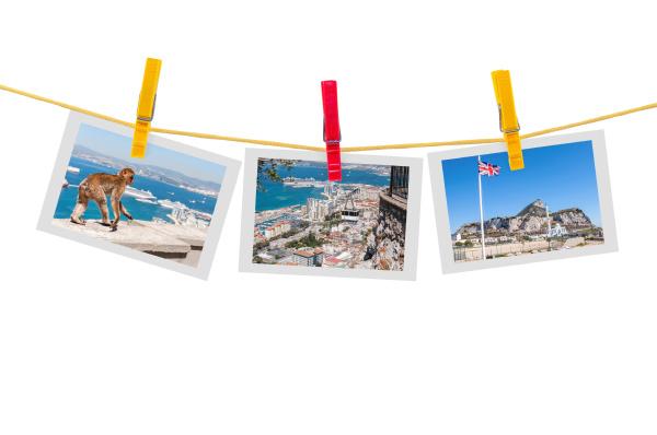 three photos of gibraltar on a