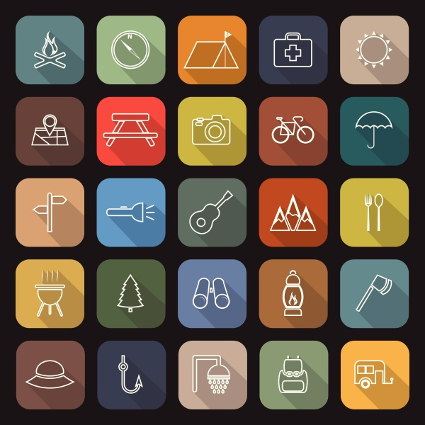 camping line flat icons with long